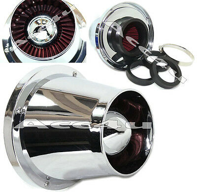 Chrome ABS Cone Shape Sports Car Funnel Air Filter System Induction Kit +Adaptor
