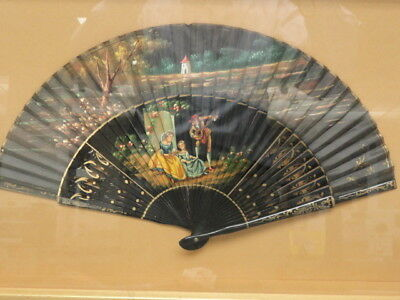 "Antique Romantic Panited Lacquered Carved Wood Hand Fan ~ 9"" & Framed"