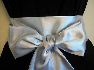 "3.5x100"" SILVER GREY SATIN SASH BELT SELF TIE BOW FOR PARTY VINTAGE PROM DRESS"