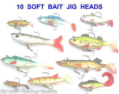 10 Mixed Soft Bait Lures Sea Coarse Fishing Pike Bass