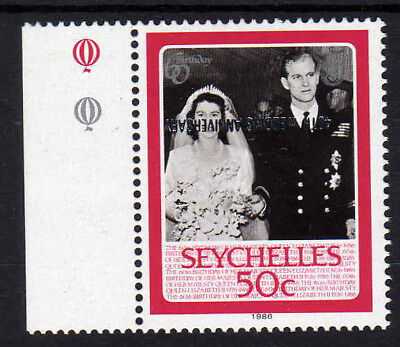 SEYCHELLES 1987 50c OVERPRINT INVERTED SG 674a MNH.