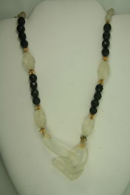 """Frost Glass Necklace With Horse Head Pendant Lock ~ 33"""""""