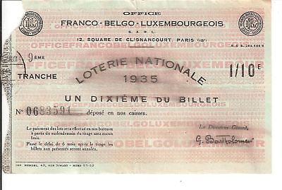 Loterie Nationale - Franco Belge Luxembourgeois 1935
