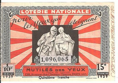 Loterie Nationale - Mutiles Des Yeux 1939