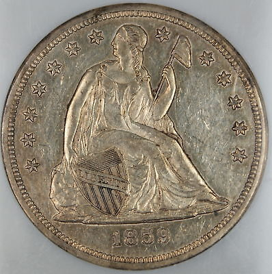 1859-S Seated Liberty Silver Dollar $1 NGC AU-58