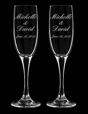 2 Personalized Engraved Wedding Champagne Glasses