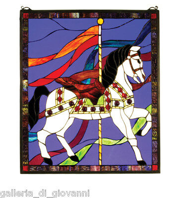 Merry Go Round Carousel Horse Stained Glass Window