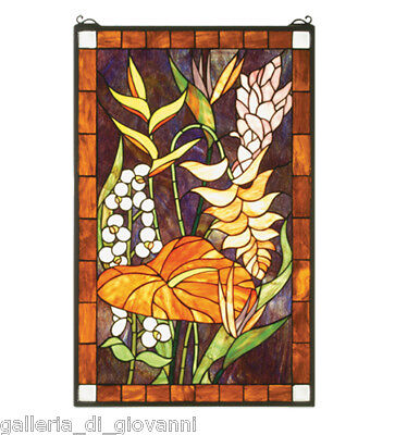 Island Flowers  Stained Glass Window
