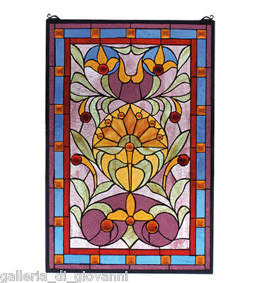 Deco Floral  Stained Glass Window  Mauve & Blue