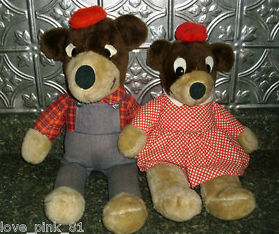 2 Vintage Elka Toys Teddy Bear Stuffed Animal Plush Rare Htf Old Dolls Boy Girl