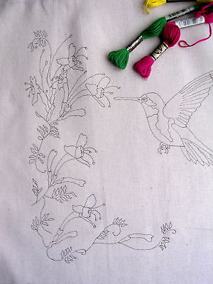 Tote bag to embroider Eco cotton Humming Bird Flowers CSOO33