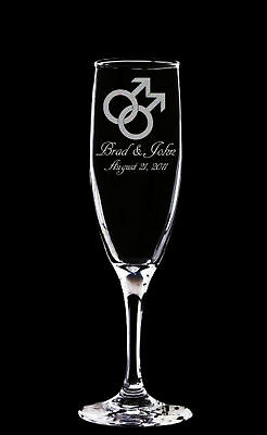 2 Personalized Gay Wedding Champagne Glass Flutes