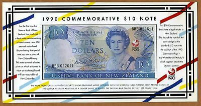 New Zealand, $10 1990, P-176 UNC > Commemorative Folder