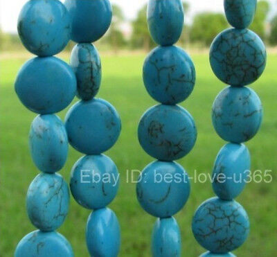 Wholesale FREE SHIP 20Pcs Turquoise FLAT Round Loose Spacer Beads 12X6MM