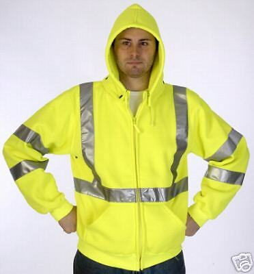 Ansi Class 3 Safety Sweatshirt Jacket Lime 28-5368 Lrg