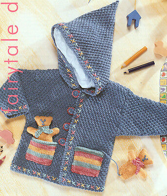 """Baby Childrens Hooded Jacket DK Knitting Pattern With Pocket Teddy 16"""" -22"""""""