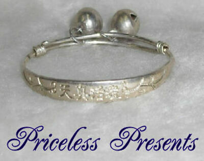BABYSNEW BABY FIRST GIFT SILVER CHRISTENING BANGLE BRACELET WITH BELLS New