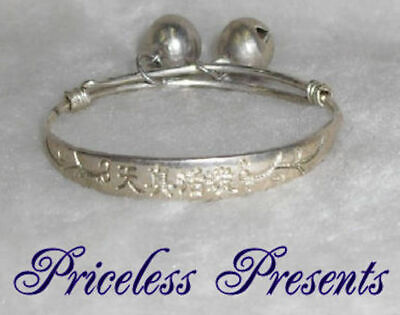 Babys New Baby First Gift Silver Embossed Christening Bangle Bracelet With Bells