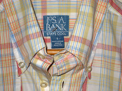 Jos A Bank Stays Cool Brothers Madras Bermuda Plaid Brooks Shirt-S