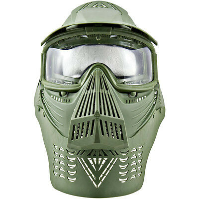 2604G Airsoft Paintball Goggle Safety Face Mask Visor  Neck Protection OD GREEN