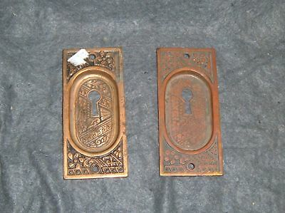 Pair Antique Brass Eastlake Pocket Pocket Door Pulls Old Vtg Hardware 4424