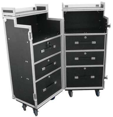 Universal-Roadie-Case DD-1, Case Bar I, Double Drawer Schubladencase mit Rollen