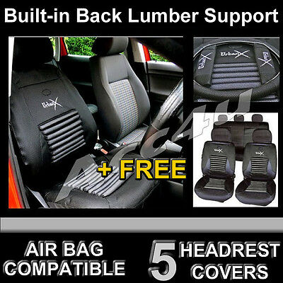 Black Mesh Look Lumbar BACK SUPPORT Airbag OK Car Seat Covers Set Package Deal