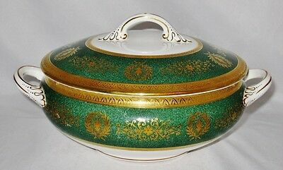 Coalport LADY ANNE, GREEN, Gold Encrusted, Round Covered Vegetable Bowl