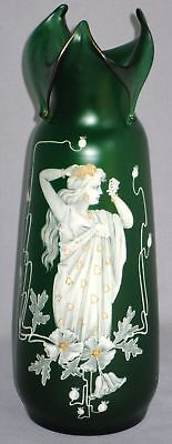 Antique Art Nouveau Colored Vase Classic Female Figure
