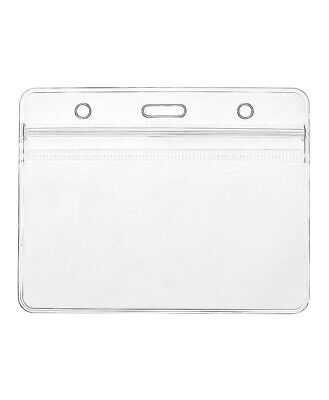 100x Clear Plastic ID Badge Card Plastic Wallet Pocket Holder Pouchs 98x86mm UK