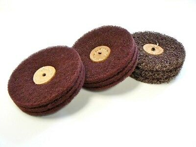 "Satin Finish Buff Wheels A/O Matt Wheel Buffs 4"" 3ply Set 3 Pcs- Fine Med Coarse"