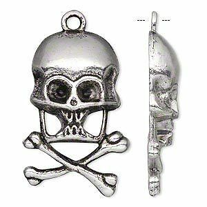 100 Antique Silver Pewter Skull & Cross Bone Charms