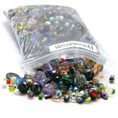 Big 1 Pound Bag Lot of Mixed Assorted Glass Beads In Many Shapes Sizes & Colors