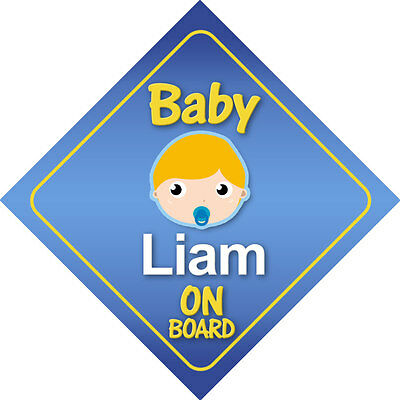 Baby Liam On Board Car Sign *Choice of Hair Colours*