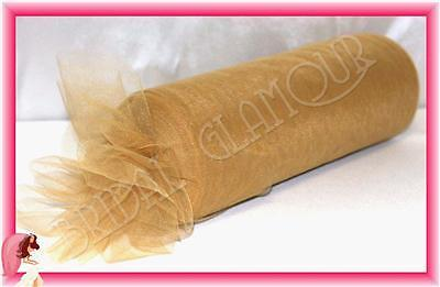 GOLD 30cm x 92m Soft Wedding Tulle Roll - Bridal Fabric Chair Sash Pew Bow Swag