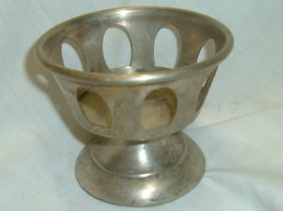 """Small Cupholder Nickel over brass 3.5"""" Antique"""
