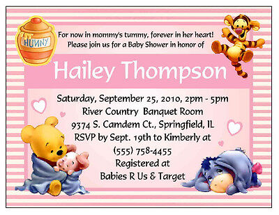 20 WINNIE THE POOH BABY SHOWER INVITATIONS - PINK
