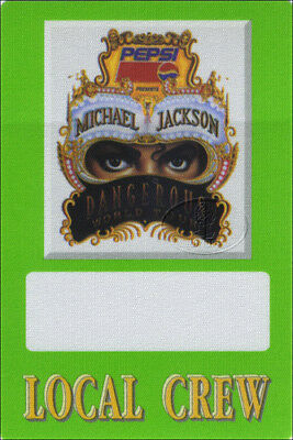 MICHAEL JACKSON 1992 DANGEROUS Backstage Pass CREW grn