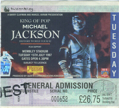 MICHAEL JACKSON 1997 TOUR Concert Ticket Stub UK