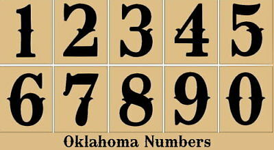 Primitive Stencil~Numbers~Oklahoma -House-Address-Sign