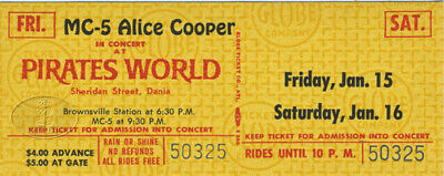 Mc5 & Alice Cooper 1971 Unused Concert Ticket