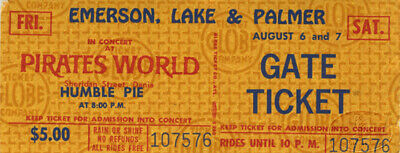 HUMBLE PIE, EMERSON LAKE & PALMER 1971 Concert Ticket