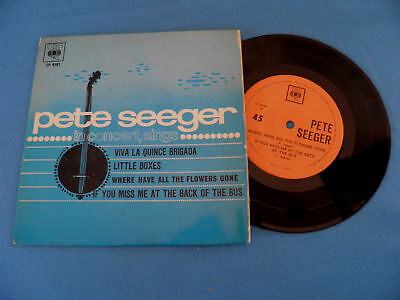 """Pete Seeger - Where Have All The Flowers Gone RARE Israel Israeli 7"""" EP 4xTracks"""
