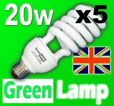 5 x 20w => 100w 2700k Energy Saving CFL Warm bulb E27