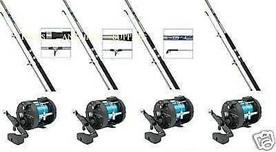 4 Shakespeare  Sea Fishing Boat Rods With  Multiplier Reels