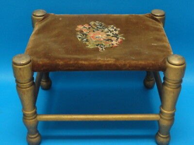 Antique Wood & Embroidery Doll Foot Stool