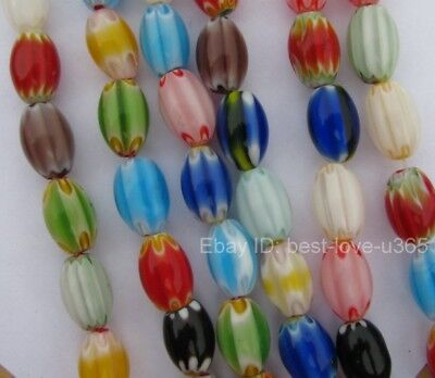 FREE SHIP 20Pcs Mixed Color Oval MILLEFIORI Glass Loose Spacer Beads 12X8MM