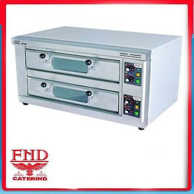 """Double Deck 4 x 15"""" Stone Base Electric Pizza Oven"""