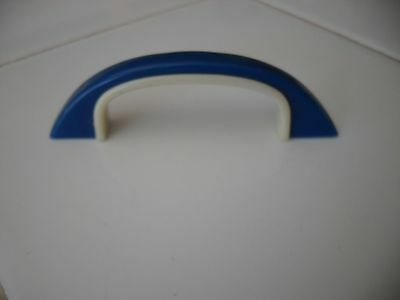 VINTAGE 50s 60s DRAWER PULLS Cabinet Door Handles BLUE WHITE IVORY Early Plastic