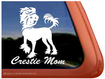 CRESTIE MOM Chinese Crested Dog Window Decal Sticker